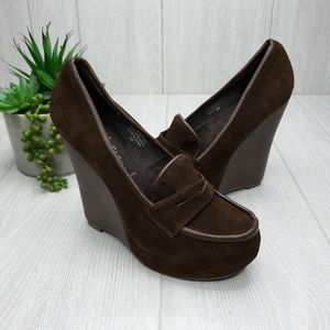 Jeffrey Campbell Round Toe Wedge Loafer Shoes 8